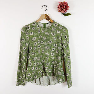 [ZARA WOMAN] Hi Low Blouse Long Sleeve Floral